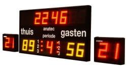 voorbeeld van een waterpolo scorebord met 2 schotklokken