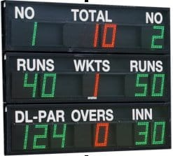 voorbeel van een cricket scorebord