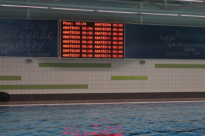 indoor led display bij wedstrijdzwemmen